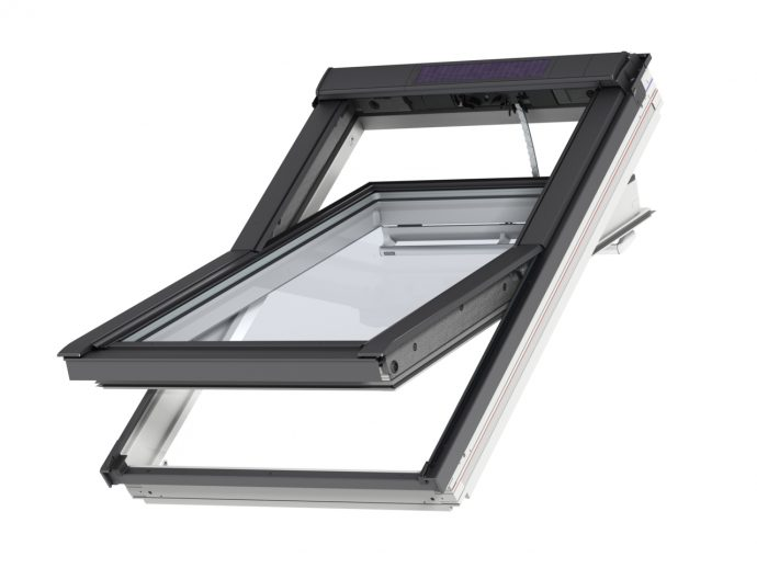 velux integra roof window ggl solar white painted skyline roofing. Black Bedroom Furniture Sets. Home Design Ideas