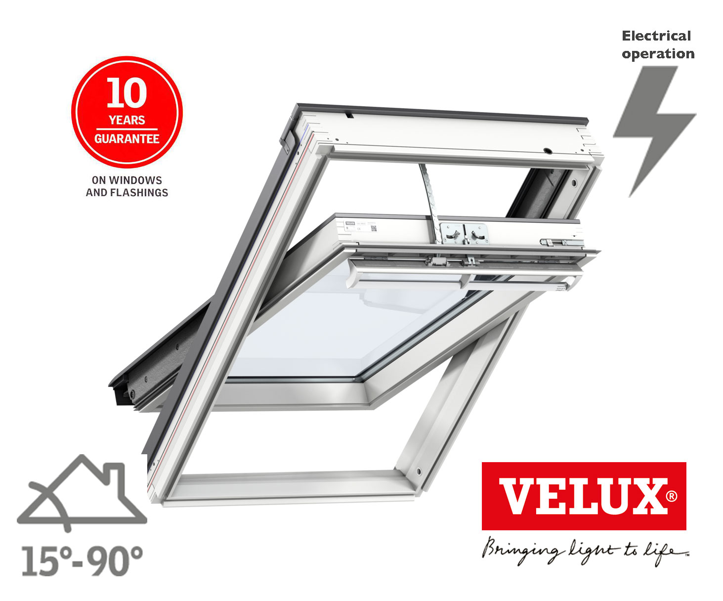 velux integra roof window ggl electric white painted skyline roofing. Black Bedroom Furniture Sets. Home Design Ideas