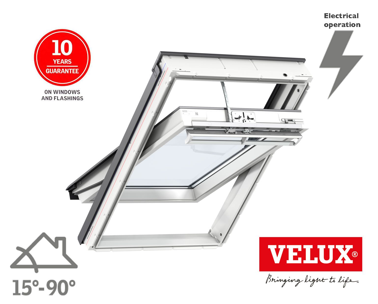 Velux integra roof window ggu electric polyurethane for Velux glass